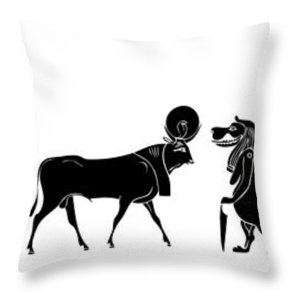 Egyptian gods and demons Throw Pillow by Michal Boubin