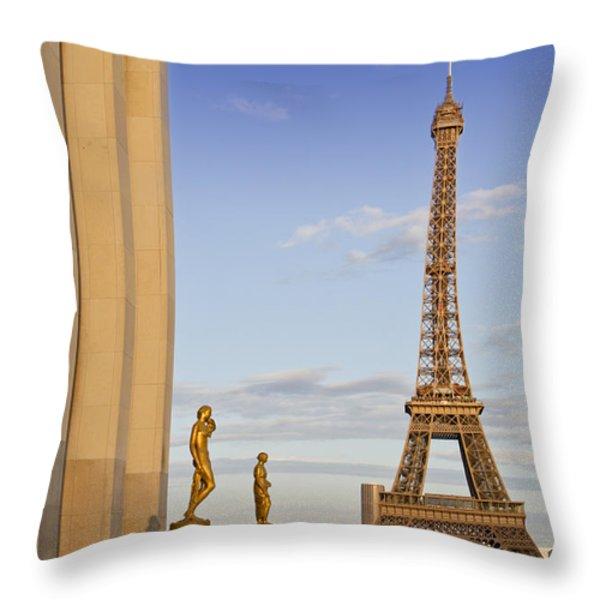 Eiffel Tower PARIS Trocadero  Throw Pillow by Melanie Viola