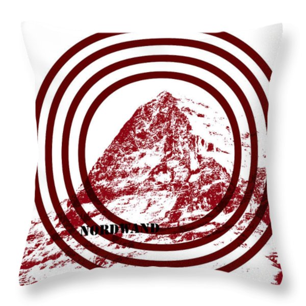 Eiger Nordwand Throw Pillow by Frank Tschakert