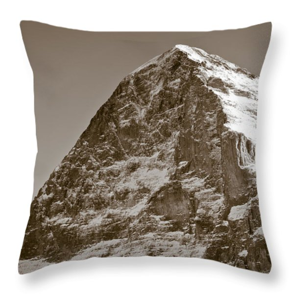 Eiger North Face Throw Pillow by Frank Tschakert