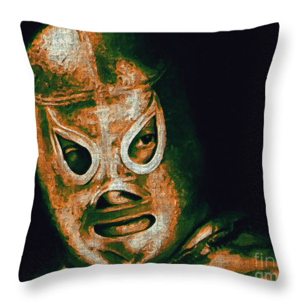 El Santo The Masked Wrestler 20130218 Throw Pillow by Wingsdomain Art and Photography