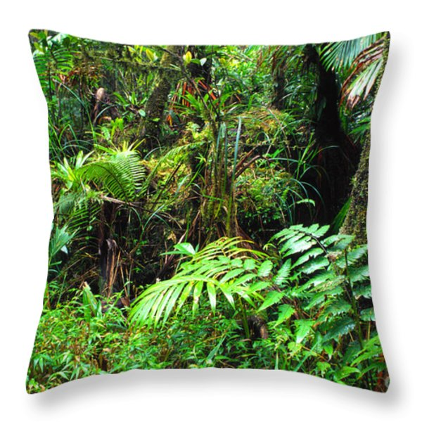 El Yunque Lush Vegetation Throw Pillow by Thomas R Fletcher