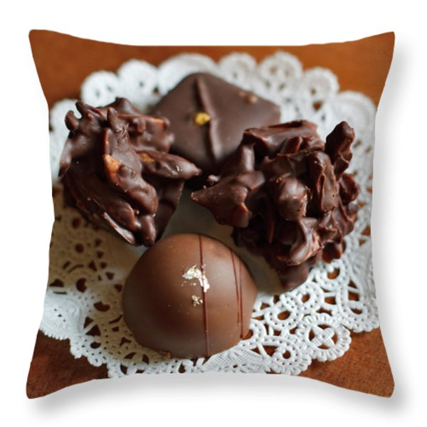 Elegant Chocolate Truffles Throw Pillow by Louise Heusinkveld