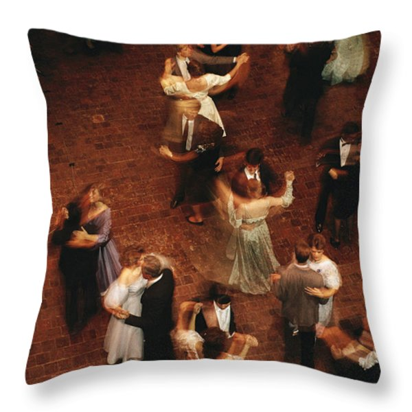 Elevated View Of Ballroom Dancers Throw Pillow by Ira Block