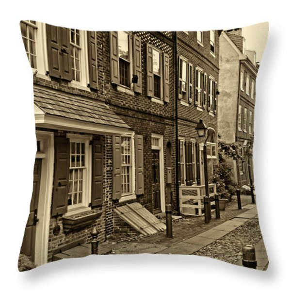 Elfreths Alley Throw Pillow by JACK PAOLINI