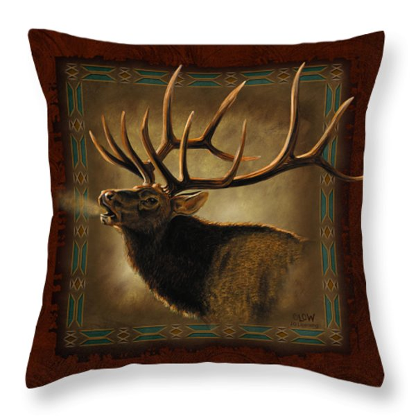 Elk Lodge Throw Pillow by JQ Licensing