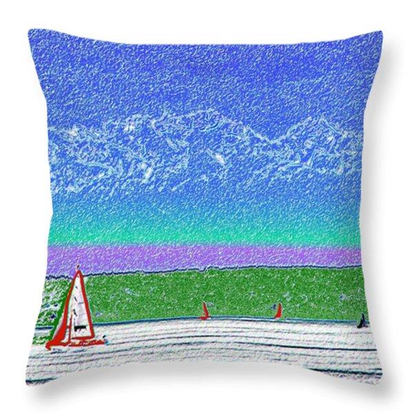 Elliott Bay Sail Throw Pillow by Tim Allen