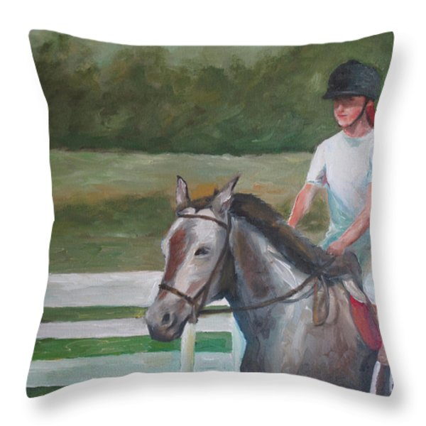 Emma Riding Throw Pillow by Julie Dalton Gourgues