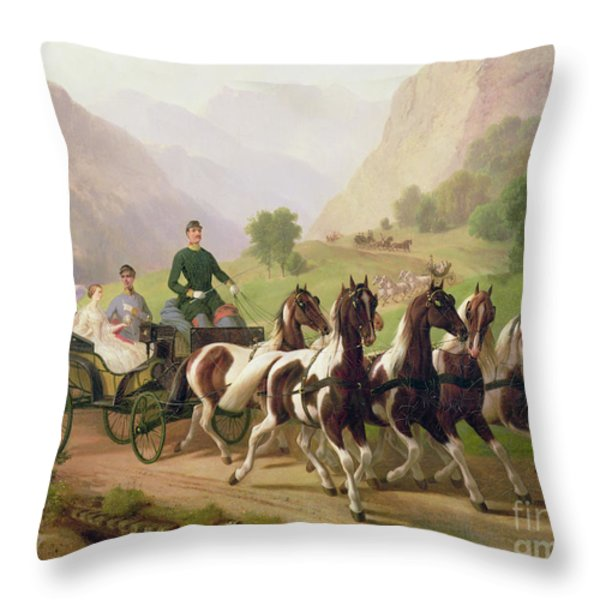 Emperor Franz Joseph I Of Austria Being Driven In His Carriage With His Wife Elizabeth Of Bavaria I Throw Pillow by Austrian School