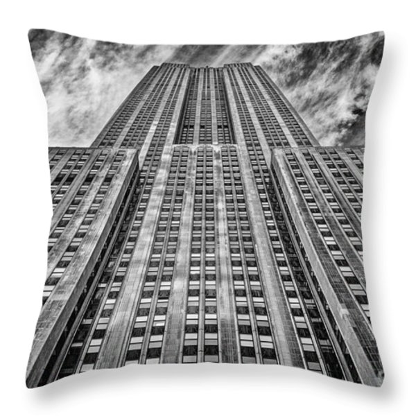 Empire State Building Black and White Throw Pillow by John Farnan