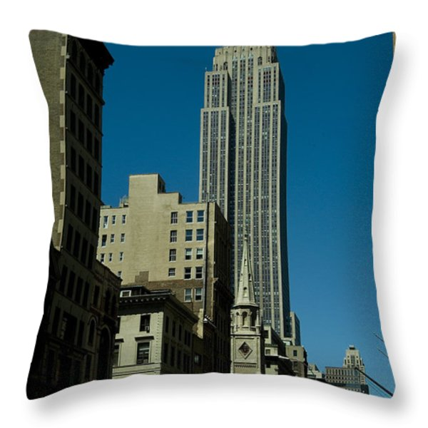 Empire State Building Seen From Street Throw Pillow by Todd Gipstein