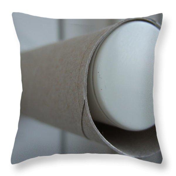 Empty toilet paper roll Throw Pillow by Matthias Hauser