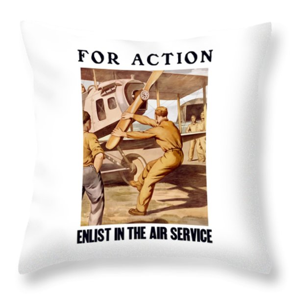 Enlist In The Air Service Throw Pillow by War Is Hell Store