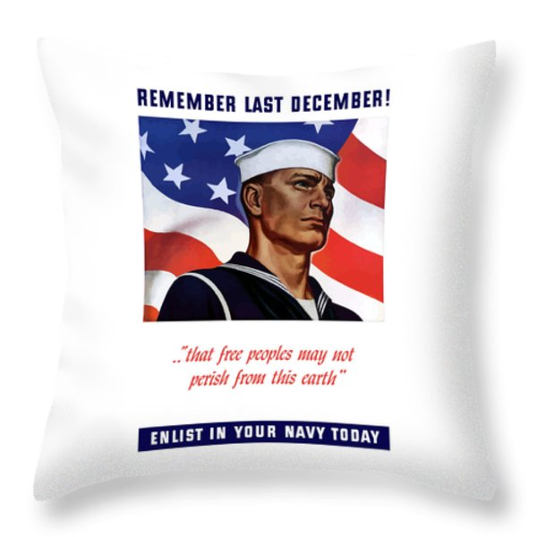 Enlist In Your Navy Today Throw Pillow by War Is Hell Store