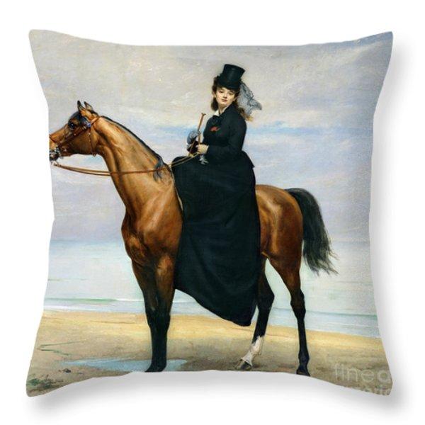 Equestrian Portrait Of Mademoiselle Croizette Throw Pillow by Charles Emile Auguste Carolus Duran