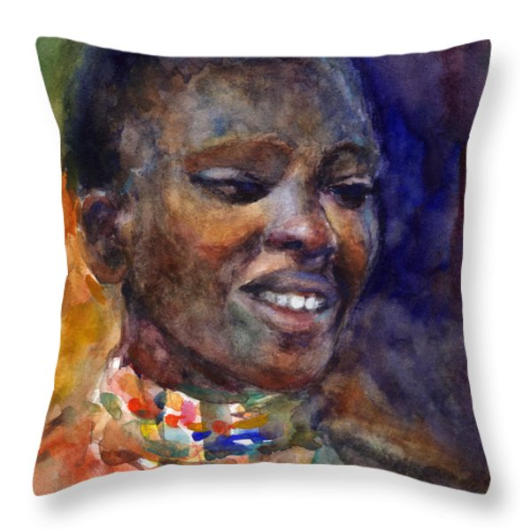Ethnic Woman Portrait Throw Pillow by Svetlana Novikova