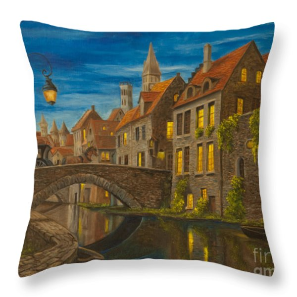 Evening in Brugge Throw Pillow by Charlotte Blanchard