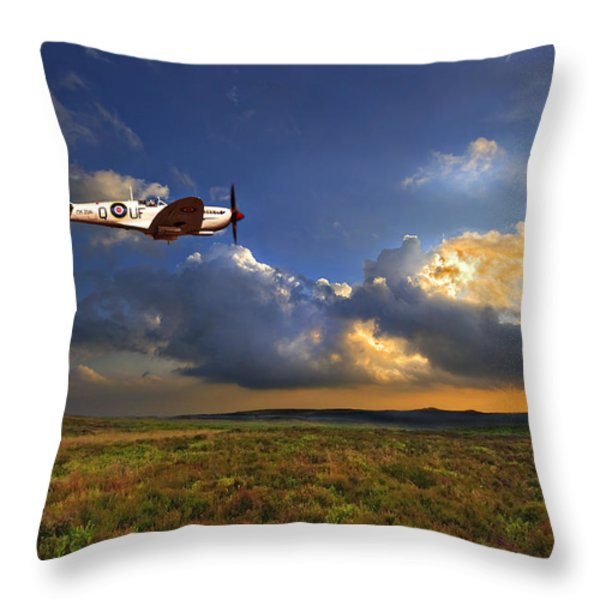 Evening Spitfire Throw Pillow by Meirion Matthias