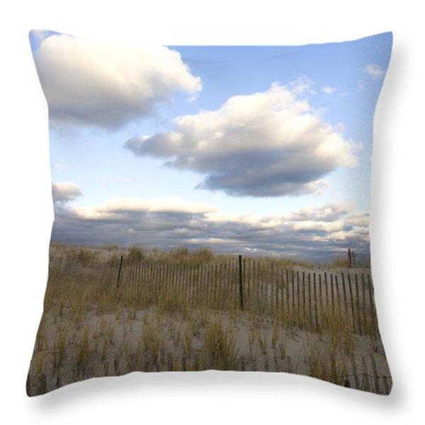 Evening Sunset Beach Scene Along Cape Throw Pillow by Keenpress