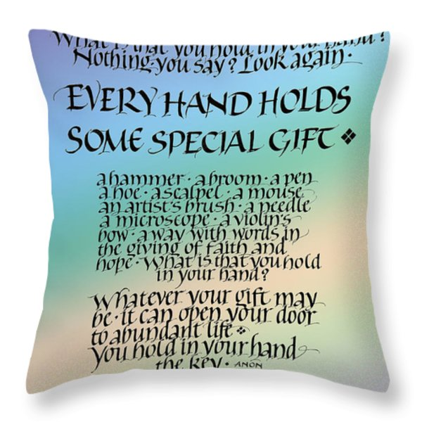 Every Hand Throw Pillow by Judy Dodds