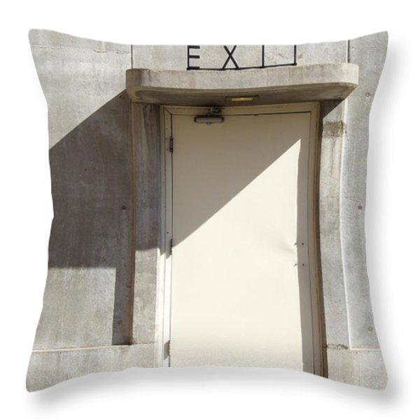 EXIT Throw Pillow by Mike McGlothlen