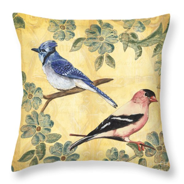 Exotic Bird Floral and Vine 1 Throw Pillow by Debbie DeWitt