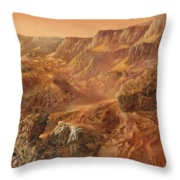 Exploring Mars Nanedi Valles Throw Pillow by Don Dixon