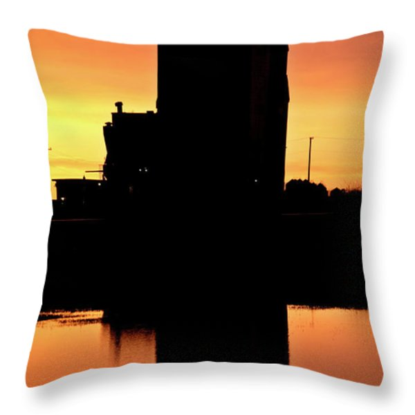 Eyebrow Gain Elevator Reflected Off Water After Sunset Throw Pillow by Mark Duffy