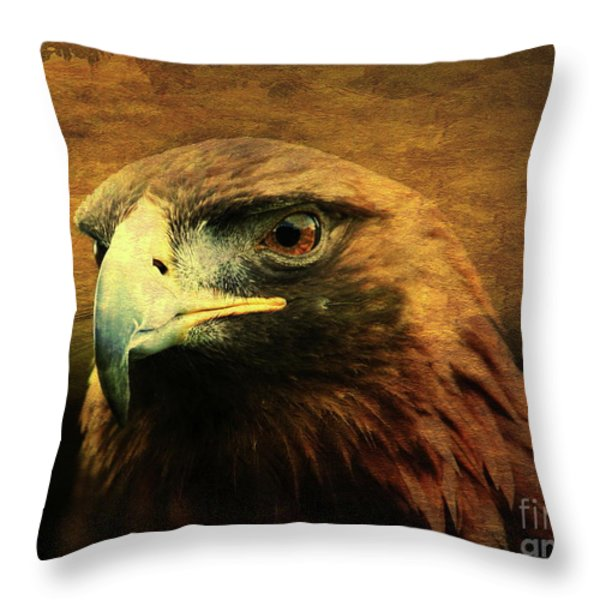 Eyes Of The Golden Hawk Throw Pillow by Wingsdomain Art and Photography