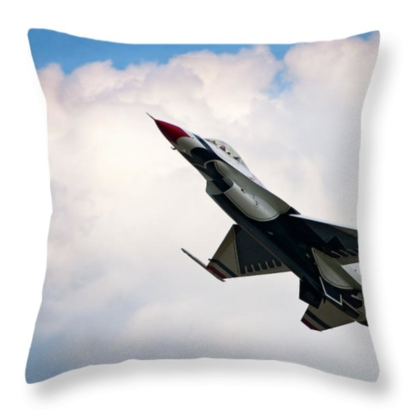 F-16 Falcon Throw Pillow by Murray Bloom
