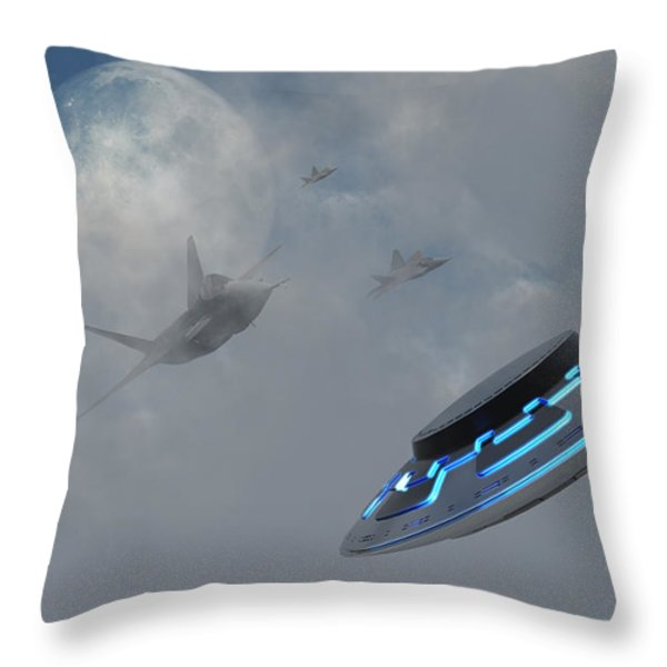 F-22 Stealth Fighter Jets On The Trail Throw Pillow by Mark Stevenson