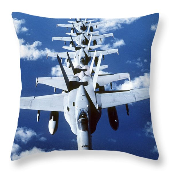 Fa-18c Hornet Aircraft Fly In Formation Throw Pillow by Stocktrek Images