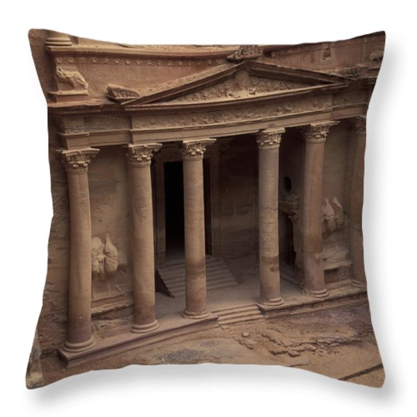 Facade Of The Treasury In Petra, Jordan Throw Pillow by Richard Nowitz