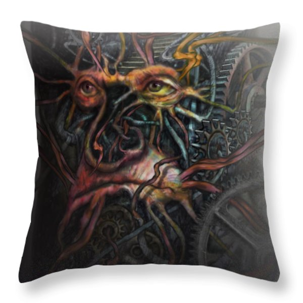 Face Machine Throw Pillow by Frank Robert Dixon