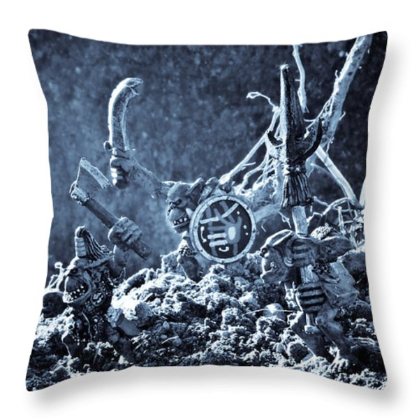 Facing The Enemy II Throw Pillow by Marc Garrido