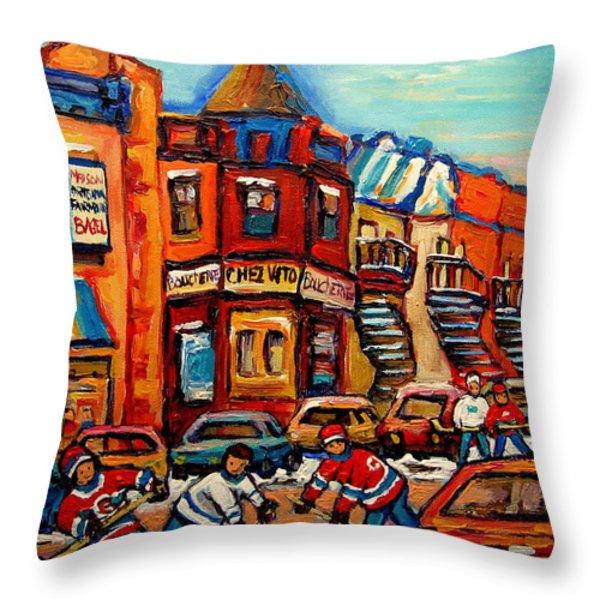 FAIRMOUNT BAGEL WITH HOCKEY Throw Pillow by CAROLE SPANDAU