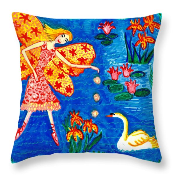 Fairy feeding swan Throw Pillow by Sushila Burgess