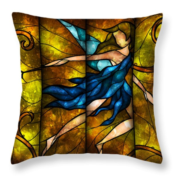 Fairy Tetraptych Throw Pillow by Mandie Manzano