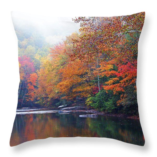 Fall Color Williams River Mirror Image Throw Pillow by Thomas R Fletcher