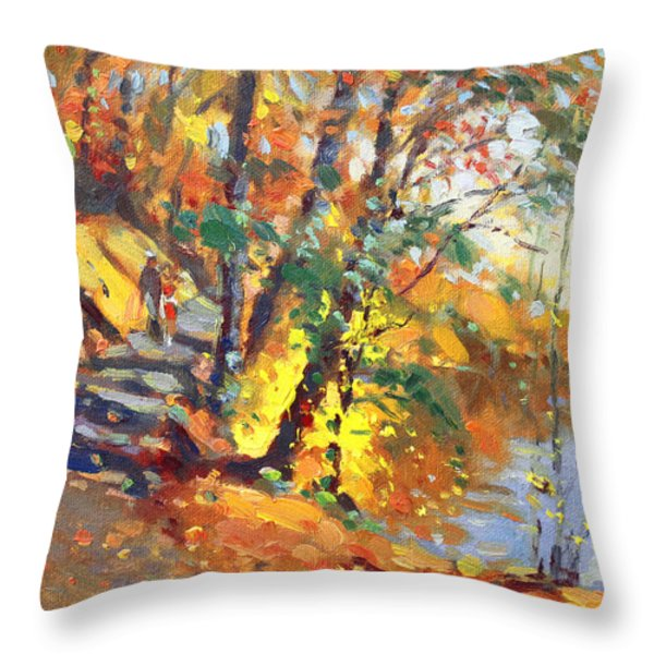 Fall in Bear Mountain Throw Pillow by Ylli Haruni