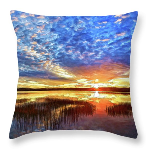 Fall Sunset At Round Lake Panorama Throw Pillow by Bill Caldwell -        ABeautifulSky Photography