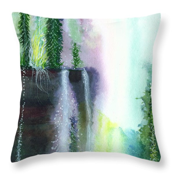 Falling waters 1 Throw Pillow by Anil Nene
