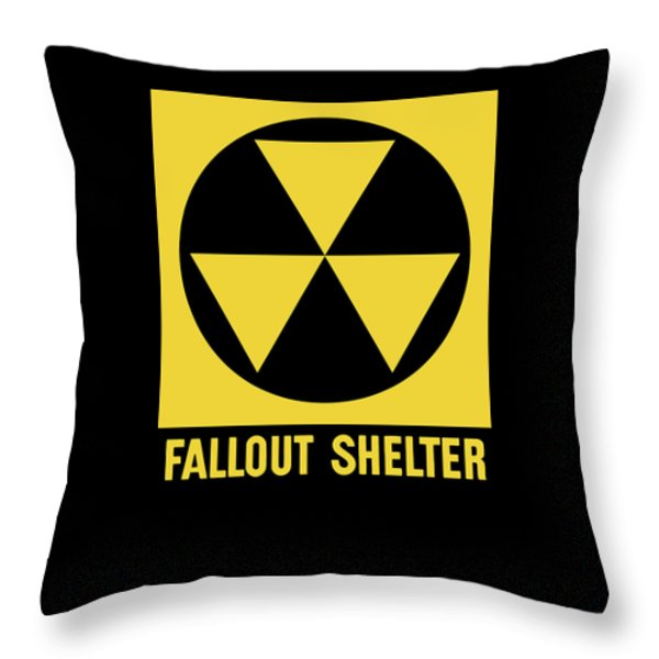 Fallout Shelter Sign Throw Pillow by War Is Hell Store
