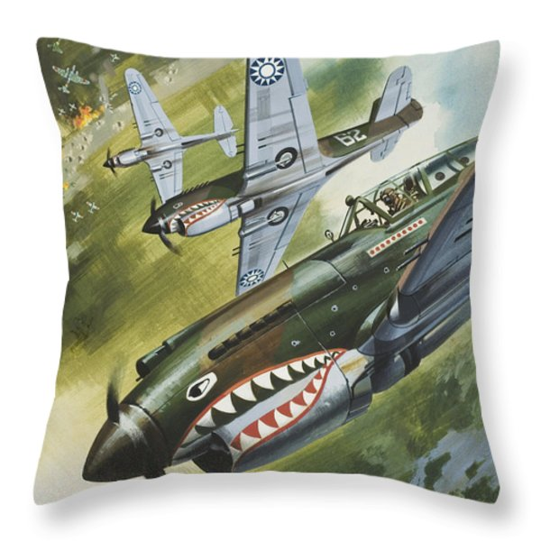 Famous Aircraft And Their Pilots Throw Pillow by Wilf Hardy