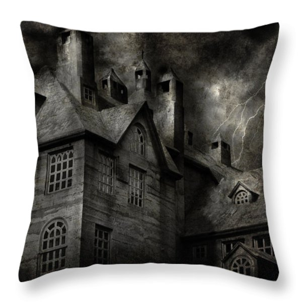 Fantasy - Haunted - It was a dark and stormy night Throw Pillow by Mike Savad