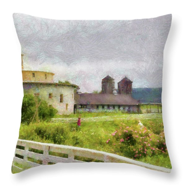Farm - Barn - Farming is hard work Throw Pillow by Mike Savad