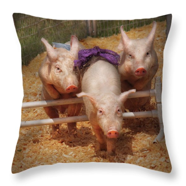 Farm - Pig - Getting Past Hurdles Throw Pillow by Mike Savad