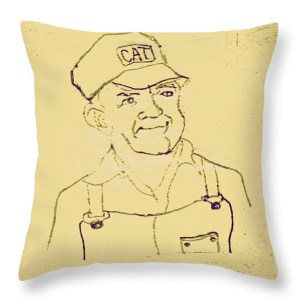 Farmer in CAT Hat Throw Pillow by Sheri Parris