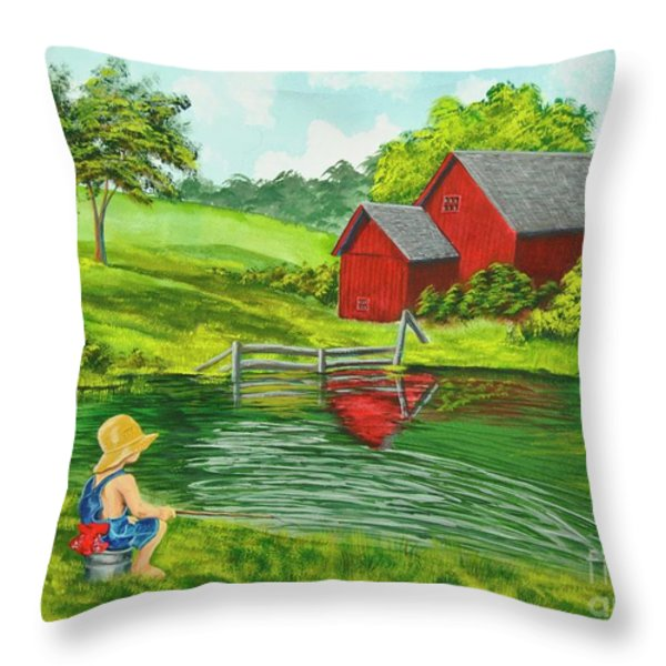 Favorite Fishing Hole Throw Pillow by Charlotte Blanchard