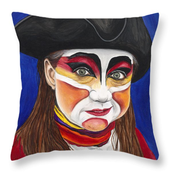 Female Carnival Pirate Throw Pillow by Patty Vicknair